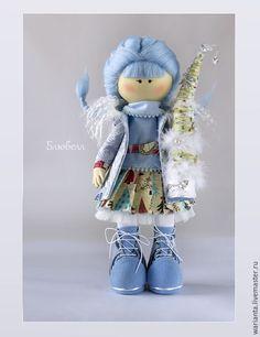 Купить Зима. Кукла текстильная. Игрушка девочка. Блюбелл - текстильная кукла, подарок на новый год, зима