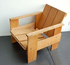 Wooden so called crate-chair design Gerrit Rietveld 1934 executed by Cassina / Italy ca.1980