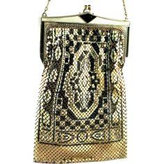 Vintage WHITING & DAVIS Art Deco Enamel Metal MESH Handbag Bag Purse Book Piece -- found at www.rubylane.com #vintagebeginshere