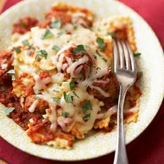 Fast Saucy Ravioli with Meatballs      ..  Three of the all-time-best Italian convenience products -- spaghetti sauce, frozen ravioli, and frozen Italian meatballs -- make this a super speedy dish to prepare.