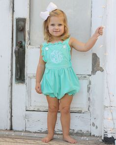 This knit sunbubble is casual enough for every day, but cute enough for a special occasion! Mint green knit bubble has criss cross straps that button in the front, and a ruffle trim. Metal snaps in stride. Toddler Girl Easter Outfit, Toddler Girl Style, Toddler Girl Outfits, Toddler Fashion, Kids Fashion, Toddler Girls, Fashion Clothes, Little Girl Outfits, Cute Outfits For Kids