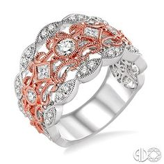 3/4 Ctw Round and Princess Cut Diamond Fashion Band in 14K White and Rose/Pink Gold