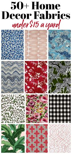 Cheap Home Decor Fabric by the Yard - Over 50 different upholstery fabric options that are less than $15 a yard. Includes blues, greens, reds, pinks, florals and more! #homedecorfabric #upholsteryfabric #affordableupholsteryfabric