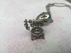 Telephone Charm Pendant Silver telephone sterling antique Sterling Silver Chains, Silver Rings, Antique Phone, Antique Fairs, Jade Beads, Engraved Rings, Anniversary Gifts, Great Gifts, Alternative Style