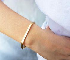 Pulsera brazalete oro minimalista pulsera oro apilado