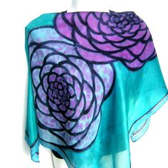 Hey, I found this really awesome Etsy listing at https://www.etsy.com/listing/217445907/hand-painted-silk-scarf-floral-teal
