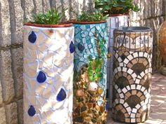 from container gardening alliance - mosaic terracotta pipes