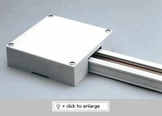 End feed box - T-BAR POWER FEED End feed box for use with T-bar ceiling. (Power feed not included) Track Lighting Fixtures, Light Fixtures, Commercial Lighting, Lighting Design, Circuit, Basement, Ceiling, Lights, Bar