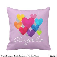 Colorful Hanging Hearts Personalized