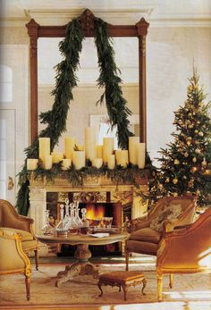 Things That Inspire: Merry Christmas! A few of my favorite holiday images. Christmas Mantels, Noel Christmas, Merry Little Christmas, Winter Christmas, Christmas Decorations, Holiday Decor, Christmas Fireplace, Christmas Gifts, Christmas Greenery