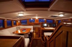 Pilothouse of Carl Linné sailing yacht for sale.