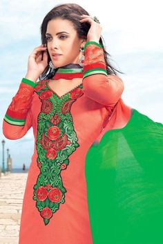 Red and Green Cotton Designer Dress Material