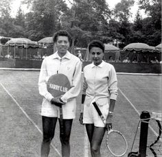 Althea Gibson and Millicent Miller at Merion Cricket Club, Haverford, Pennsylvania. Althea Gibson, American Tennis Players, Person Of Color, Golf Tour, Famous Black, Serena Williams, Professional Women, Wimbledon, Black Women
