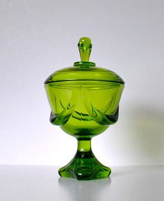 intage Green Glass Compote Viking Glass Company