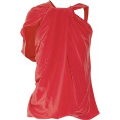 La Petite S***** Draped silk crepe de chine top ($401) ❤ liked on Polyvore featuring tops, blusas, shirts, tomato red, loose shirts, cut loose shirt, shirt top, fitted shirts and loose fitting tops