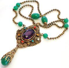 Czech Art Deco Rhinestone Glass Pendant Necklace