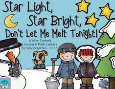 """Winter themed literacy and math centers for Kindergarten. Common core aligned. Includes kinder-friendly """"I Can"""" posters for all activities and """"print and go"""" worksheets to reinforce skills."""