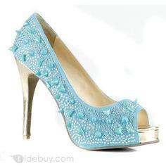新しいブルーレザースティレットヒールぞき見つま先プロム/イブニング靴