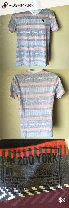 ZOO YORK Reversed Striped V-Neck T-Shirt M ZOO YORK Men's Reversed Gray Orange Striped V-Neck T-Shirt Size Medium VGC Zoo York Shirts Tees - Short Sleeve