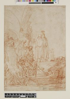 Rembrandt - The Entombment of Christ (combined with the Raising of Lazarus); (a) Lazarus is seen at right in several positions, raising his head, Christ standing above the tomb, to left a crowd of spectators (b) Over the preceding sketch another group in which the body of Christ is lowered towards the tomb. 1635 Red chalk