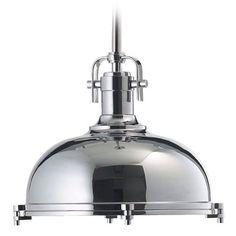 Quorum Lighting Quorum Lighting Chrome Pendant Light with Bowl / Dome Shade  804-17-14