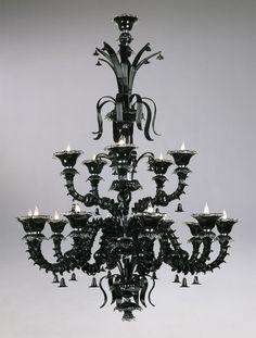 Florentine Glass Chandelier Black