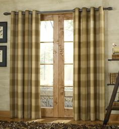 Buffalo Check curtains on a dark curtain rod - nursery curtains? Dark Curtains, Cool Curtains, Grommet Curtains, Patterned Curtains, Drapery Panels, Panel Curtains, Style At Home, Window Coverings, Window Treatments