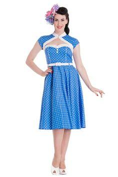 Blue Melanie Polka Dot Dress by Hell Bunny Rockabilly Mode, Rockabilly Fashion, Rockabilly Dresses, Alternative Mode, Alternative Fashion, Pin Up Dresses, Blue Dresses, Dress P, Swing Dress