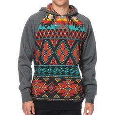 A tribal print body and charcoal raglan sleeves gives two tone style with a kangaroo pouch pocket and a soft fleece lining for great comfort. Cheap Hoodies, Cool Hoodies, Aztec Hoodies, Men's Hoodies, Fashion 2017, Fashion Outfits, Mens Fashion, Printed Sweatshirts, Mens Sweatshirts