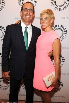 His better half: Jerry Seinfeld's wife Jessica looked incredible in a figure-hugging pink ...