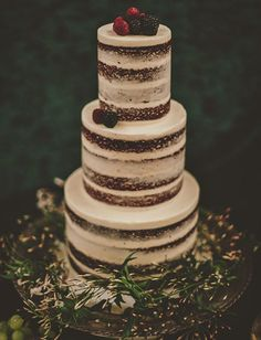 layered naked cake with berries