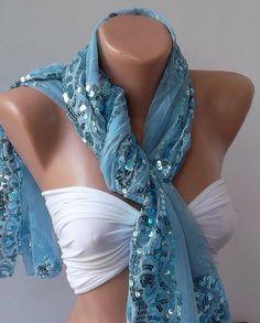 Blue Turkish Shawl  Scarf  Silvery by womann on Etsy, $19.90 love!