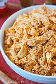Slow Cooker Pulled Buffalo Chicken - so simple to prepare and super delicious. Great in sandwiches, on pizza, in dips and many other recipes! I used easily cup Frank's at the end instead of the 2 Tbls suggested.This is DELICIOUS! Crock Pot Slow Cooker, Crock Pot Cooking, Slow Cooker Recipes, Crockpot Recipes, Cooking Recipes, Crockpot Dishes, Dip Recipes, Cooking Tips, Easy Recipes