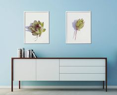 Set of 2 Succulent Prints. Two different flower heads of houseleek plant, with roots, white background. These prints will remind you of summer and sun. Hang in living room, bedroom or kitchen. Modern Succulent Wall Decor, Modern Flower Art Prints, Kitchen Printable Wall Decor, Bedroom Printable Wall Decor
