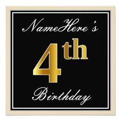 Elegant Black Faux Gold 4th Birthday  Name Card - elegant gifts gift ideas custom presents