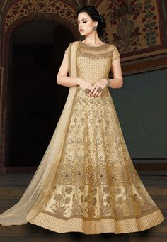 cdca6e57a7f3 Embroidered Net Abaya Style Suit in Beige