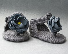 Shabby Chic Crochet Cotton Baby Sandals Crochet by atelierbagatela