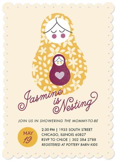 Nesting doll baby shower invite by Bonjour Berry (via Minted).