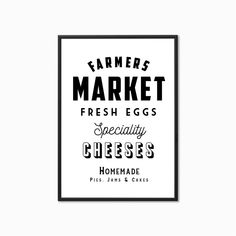 'Farmers Market' Vintage Style Kitchen Print Kitchen Styling, Kitchen Decor, Vintage Style, Vintage Fashion, Frame Stand, Kitchen Prints, Farmers Market, Thoughtful Gifts, Marketing