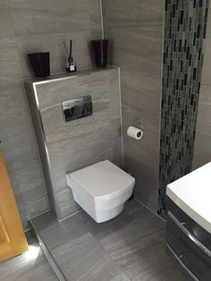 Informationen Über Eck WC The Most Useful Bathroom Shower Ideas There are almost uncountable kinds o Toilet Tiles Design, Small Toilet Design, Small Toilet Room, Modern Bathroom Design, Small Bathroom, Interior Design Toilet, Bathroom Wall, Bathroom Storage, Floating Toilet