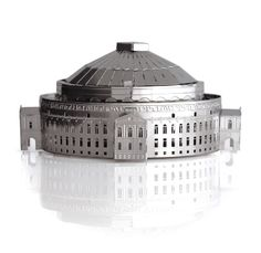 Royal Albert Hall MONUmini: MONUmini is an architectural model kit. Each kit includes a sheet of stainless steel pieces which fold and lock together to create a miniature building.   The Royal Albert Hall was built over 4 years and opened in 1871 by Queen Victoria. At the time, the roof was the largest unsupported dome in the world which required a ground breaking design to ensure the 338 tonnes of iron metal frame would support the 279 tonnes of glazing.