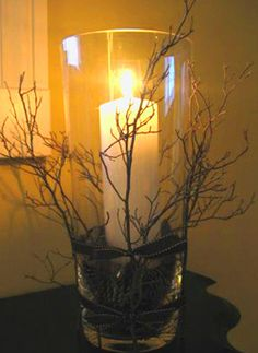 vase filled w/ pinecones/candle.  Twigs attached to outside with ribbon/burlap/fabric strips