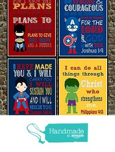 Superhero Set of 4 - Christian Wall Art Print - Bible Verse Nursery Playroom or Childs Room Decor from Pixie Paper…