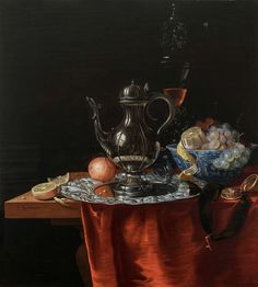 Johannes Rosenhagen (The Hague 1640-1668) Still Life with Fruit in a Wan-Li-Bowl and a Silver Ewer reflecting the Self-Portrait of the Artist