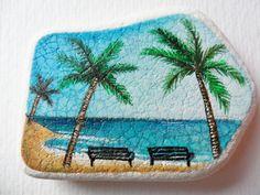 Benches on the beach  Miniature art on Scottish sea pottery by Alienstoatdesigns, $25.00