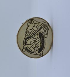 Wooden celtic coaster with a jester. For mug by ArchdeansMagicShop