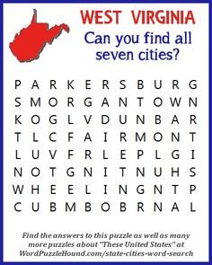 State of West Virginia Cities Word Search