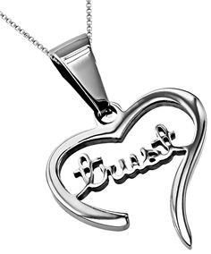 "Trust Handwriting Heart Necklace by - Stainless steel, high polish heart with hand writing script reading ""Trust."" Heart measures x Silver chain included. Christian Jewelry, Cross Jewelry, Christian Shirts, Silver Necklaces, Heart Necklaces, Handwriting, Trust, Chain, Gifts"