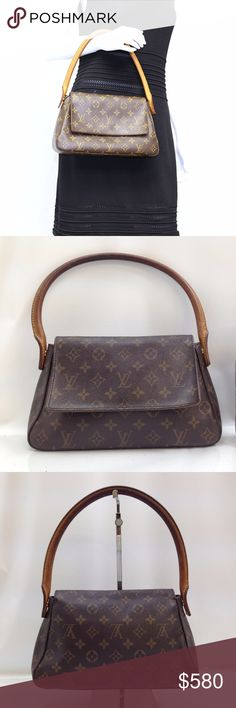 """Auth Louis Vuitton Monogram Looping PM Hand Bag Adorable Color!! Beautiful style. Preloved in very good condition. Gently used. Minor stains, discoloration, scuffs on leather parts. Zipper works well.  Inside has small stains, marks, dirts.  This is one of the most beautiful thing your vintage closet will have. Excellent bag to use for office and for daily use. Size 11""""x6""""x3"""".  Made in France, Date Code: MI 0021  AUTHENTIC-LEATHER-FAST SHIPPING! ⏳My items sell fast. Get them before…"""