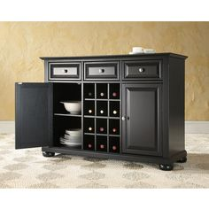 Crosley Furniture Alexandria Buffet Server / Sideboard Cabinet with Wine Storage in Black, Classic Cherry or Mahogany finish | KitchenSource.com #kitchensource #pinterest #followerfind